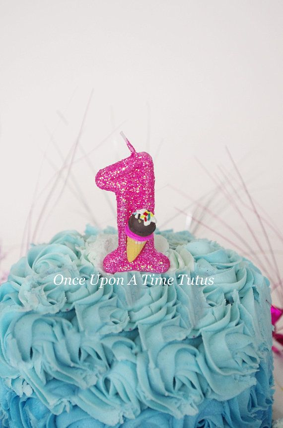 Hot Pink Glitter Birthday Candle Ice Cream Cone Party Decor Supplies Photo Prop Sparkly Sparkle Cake Topper Keepsake Standard Size
