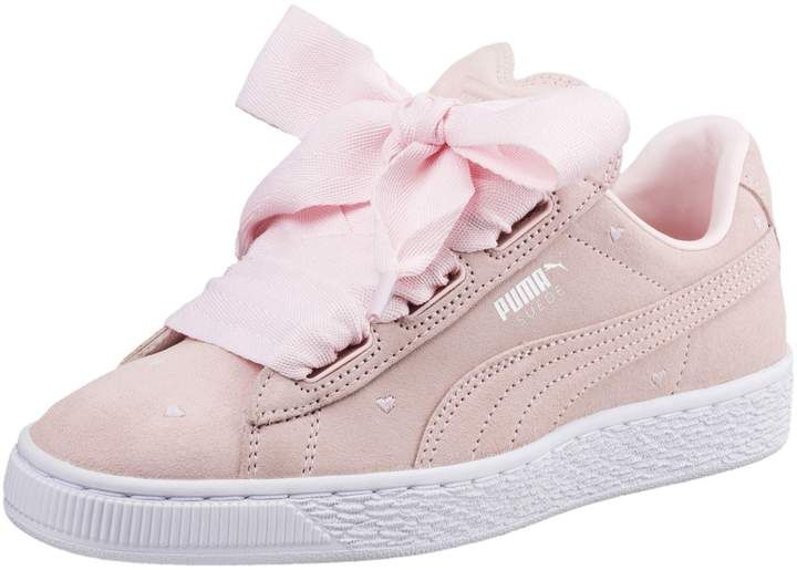 Suede Heart Valentine Inf Sneakers (4 10) Girls Footwear