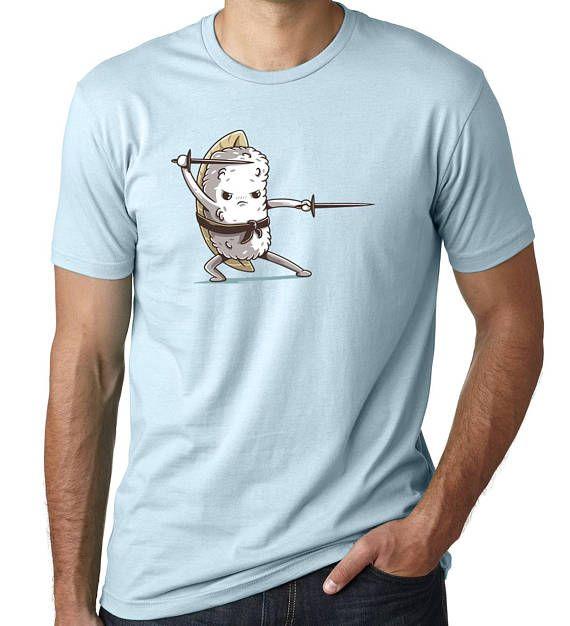 Men's Light Blue Sushi Samurai Shirt Food Shirt Sushi #sushi #shirt #mens #fashion #love #swords #swordsman