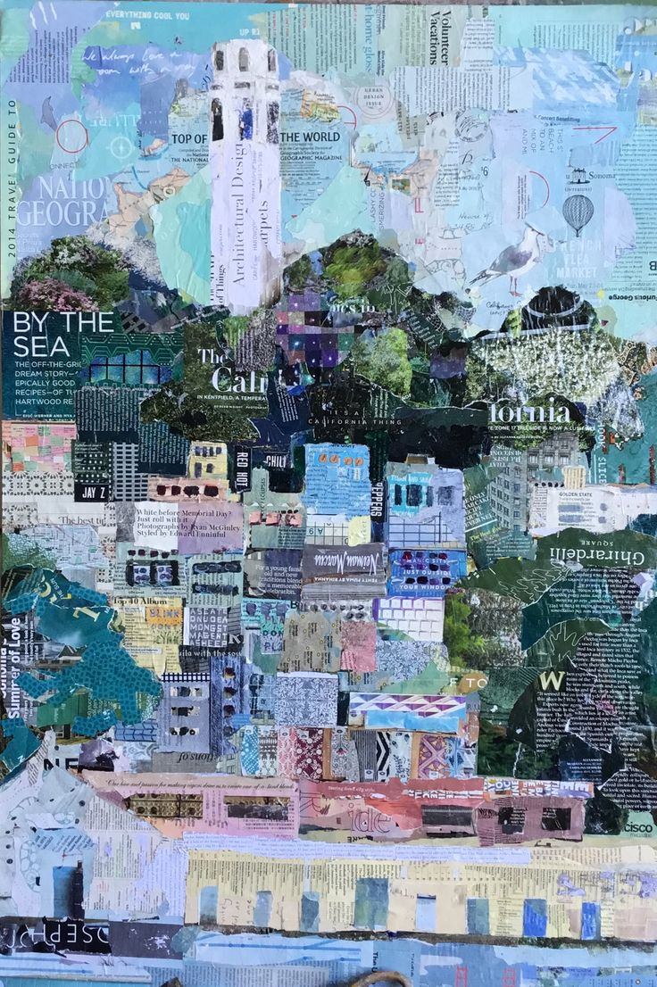 """Top of the World. 24""""x36"""" fine art collage painting of Coit Tower, San Francisco."""
