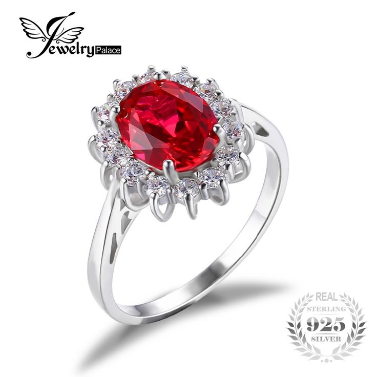 JewelryPalace Princess Diana William Kate Middleton's 3.2ct Created Red Ruby Engagement 925 Sterling Silver Ring For Women Gift