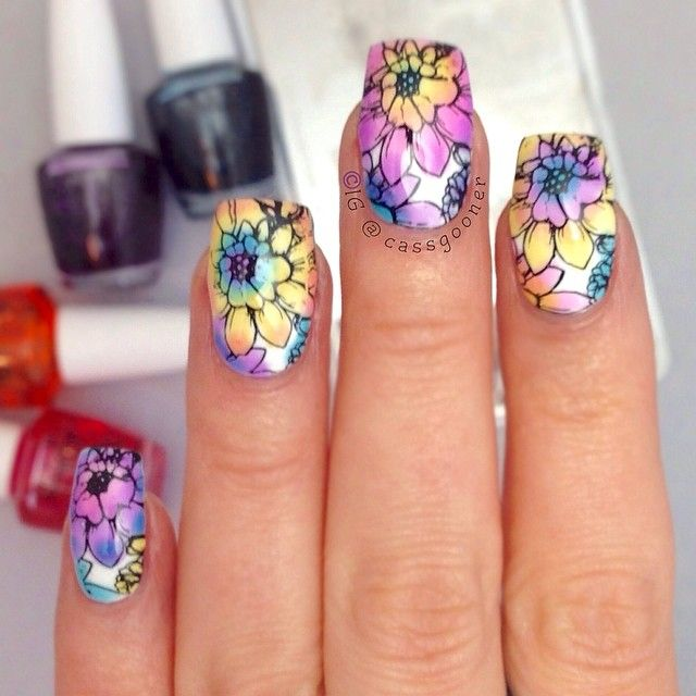 floral design is a stamped image from MoYou-London Nail Art Image Plate Pro XL Collection -  Polishes: OPI Sheer Tints Collection