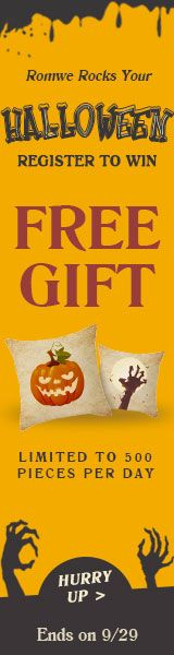 Register with romwe and you will get a customized #Halloween pillow **FREE OF CHARGE!** Certain Restrictions Apply Offer valid 9/25-9/29 http://www.planetgoldilocks.com/clothing #halloween #clothing #romwe