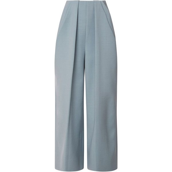 DELPOZO Pant With Symmetric Pleats ($1,550) ❤ liked on Polyvore featuring pants, blue pants, pleated trousers, pleated pants and pastel pants