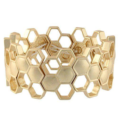 Heirloom Finds Matte Gold Tone Geometric Honeycomb Stretch Cuff Bracelet Heirloom Finds http://smile.amazon.com/dp/B00GZWX41O/ref=cm_sw_r_pi_dp_k2Davb125FF9B