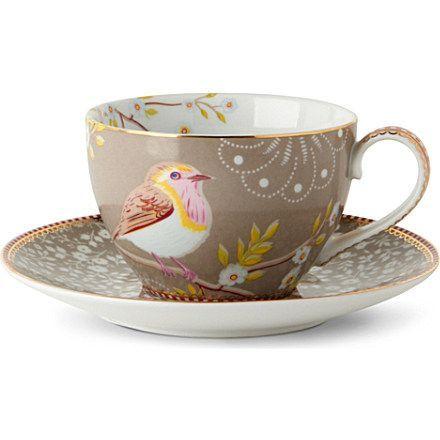 Tea Cups And Saucers   Khaki tea cup and saucer - PIP STUDIO   selfridges.com