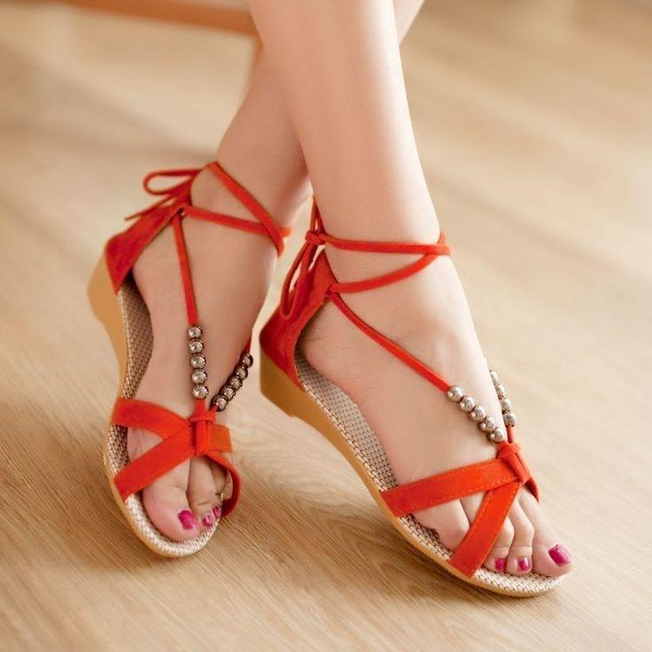 Orange Womens Flat Gladiator Sandals Thongs Flip Flips Girls School shoes US 7