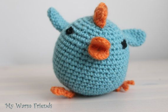 Amigurumi rooster  Crochet blue rooster   by MyWarmFriends on Etsy, €15.00