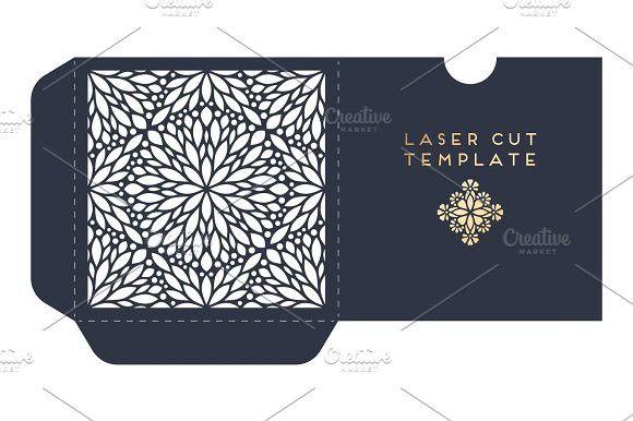 Vector wedding card laser cut template with mandala. Creative Card Templates