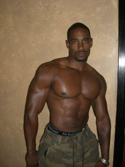 Simply african dark skinned musclemen
