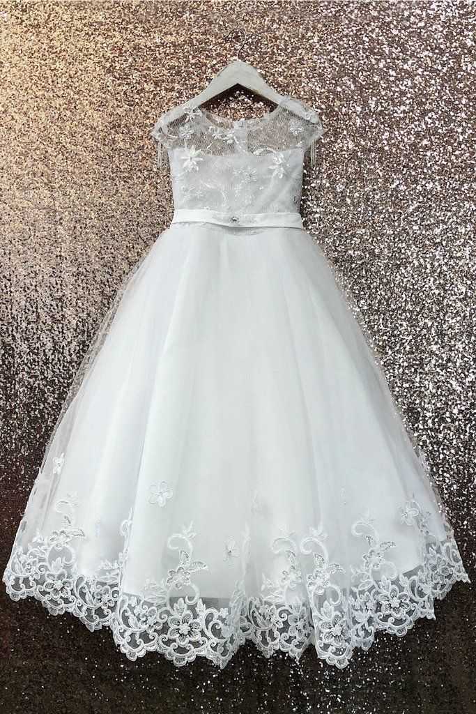 ce856434947 Floral Embroidery Multi-Layer Tulle Communion Flower Girl Dress ...