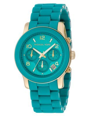 Michael Kors Watch, Women's Chronograph Blue Polyurethane and Goldtone Stainless Steel Bracelet MK5266