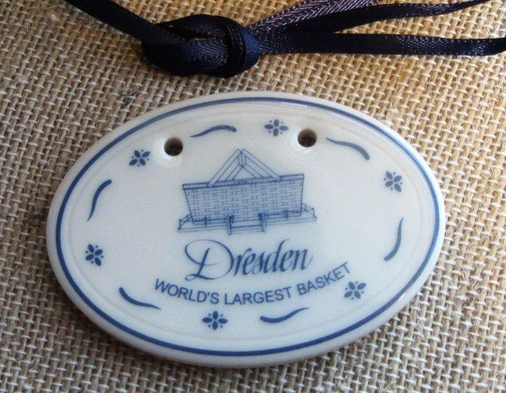 Longaberger Dresden Tie-On Pottery Worlds Largest Basket Blue in Original box