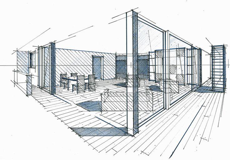Perspective générale d'un appartement et terrasse à Boulogne Billancourt Philippe Ponceblanc Architecte d'intérieur http://www.architecte-interieur.com