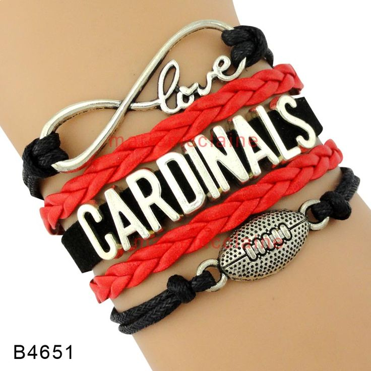 (10 Pieces/Lot) High Quality Infinity Love Arizona Football Team Cardinals Wrap Bracelet Black Red Gold Leather Cuff Sports Gift