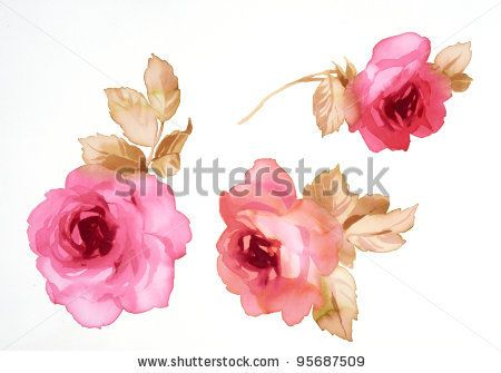 Color illustration of flowers in watercolor paintings by the palms, via Shutterstock