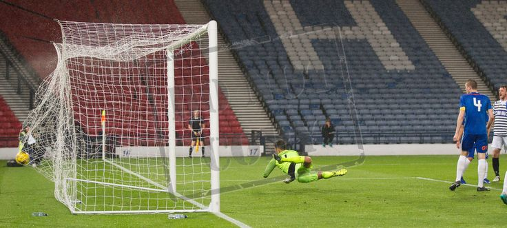 Kilmarnock's keeper Ross Miller can't keep out Queen's Park's David Galt's shot during the IRN-BRU Cup game between Queen's Park and Kilmarnock Colts. P