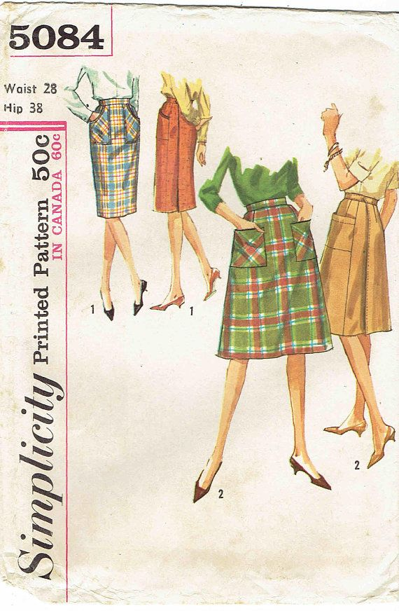 60s Wrap Skirt Pattern Simplicity 5084. A-Line by MiAbDryGoods