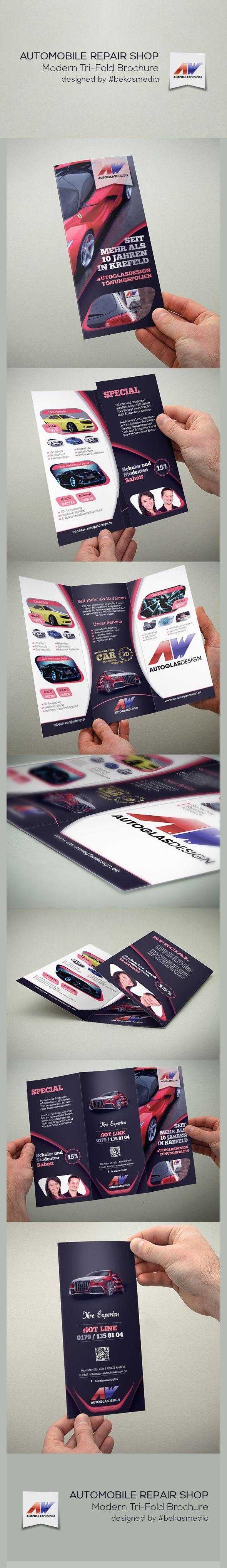 Modern #Automobile Repair Shop #TriFold Brochure. DIN Lang. Designed by #bekasmedia.