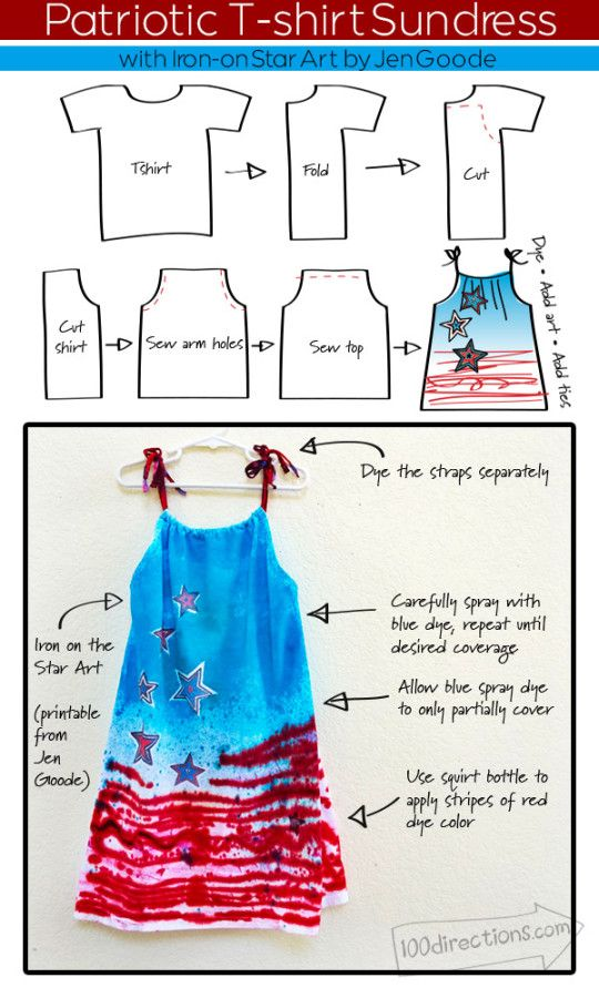 Make a Patriotic Sundress from a T-shirt - Designed by Jen Goode