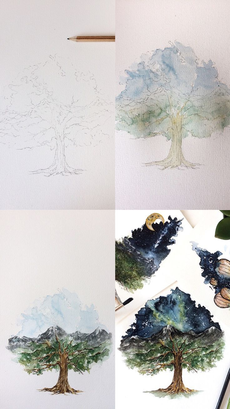 Step By Step Process Photos Of A Double Exposure Oak Tree