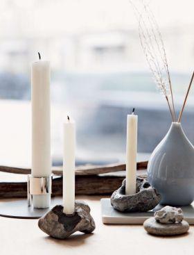 brug dine hulsten til lysestager // stones + diy + candlesticks