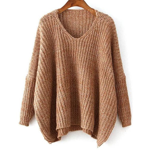 SheIn(sheinside) Khaki V Neck Batwing Sleeve Dip Hem Oversized Sweater ($24) ❤ liked on Polyvore featuring tops, sweaters, khaki, acrylic sweater, v neck pullover, khaki sweater, v-neck sweater and pullover sweaters