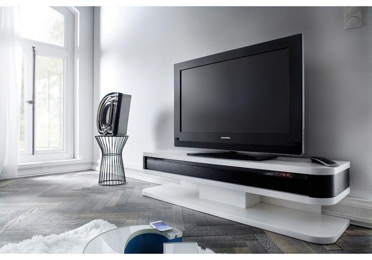 Sehr schickes TV HiFi Lowboard mit modernen Rundungen. Das im Lieferumfang befindliche Soundsystem wird Sie sicherlich begeistern und sorgt für die nötige Kinoathmoshäre am heimischen TV.  41-02551 TV HiFi Lowboard mit Soundsystem weiss matt/ schwarz