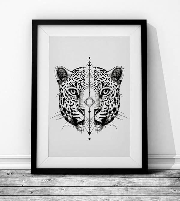 Panther Wieprz Design Studio. #cat #panther #leopard #geometry #blackandwhite