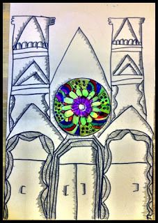 Organized Chaos: 5th Grade - Gothic Architecture-uses recycled cd for rose window.