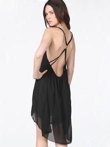 Black Spaghetti Strap Backless Chiffon Dress EUR€13.69