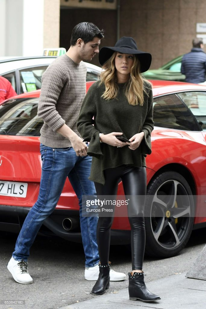 Real Madrid football player Alvaro Morata and his girlfriend Alice Campello are seen arriving at Amazonico restaurant on February 16, 2017 in Madrid, Spain.