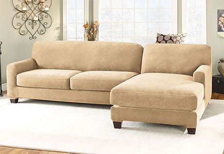 Sure Fit Slipcovers Stretch Pique Two Seat With Chaise