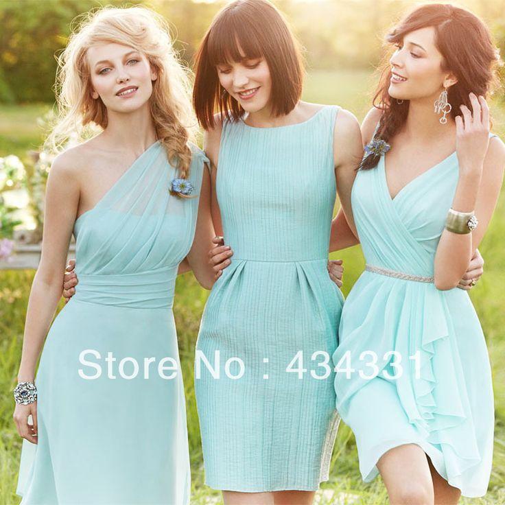 Sexy Vestidos One Shoulder/Scoop/V Neck Short Mint Green Chiffon Bridesmaid Dresses 2014 Wedding Party Dresses Cheap Under 100 -inBridesmaid...