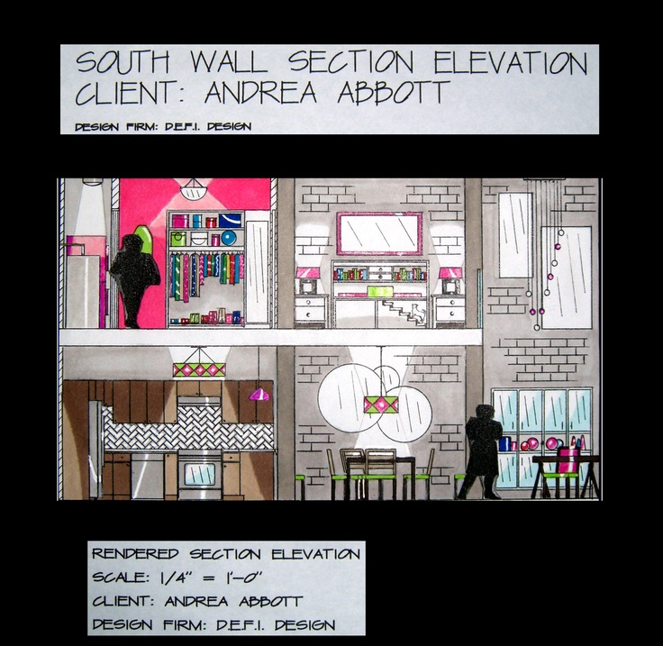 Elevation Marker Plan : Rendered section elevation for loft project my art