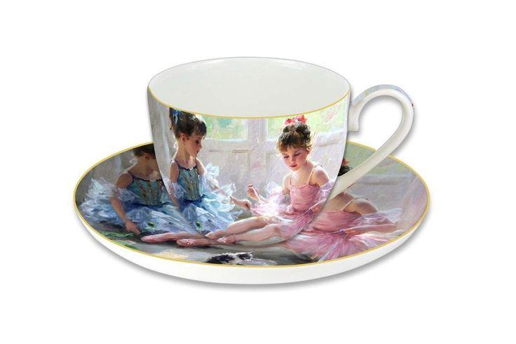 Чашка с блюдцем из костяного фарфора «Балерины у окна» в подарочной упаковке      Бренд: Carmani (Польша);   Страна производства: Польша;   Материал: костяной фарфор;   Объем чашки: 280 мл;          #bonechine #chine #diningset #teaset #костяной #фарфор #обеденный #сервиз #посуда  #обеденныйсервиз #чайныйсервиз #чайный  #чашка #кружка #набор #сервировка #cup #mug #set #serving #tea #чай