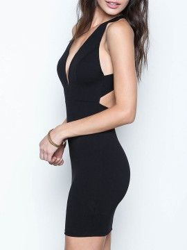 Shop Black Plunge Neck Cross Backless Bodycon Dress from choies.com .Free shipping Worldwide.$13.9