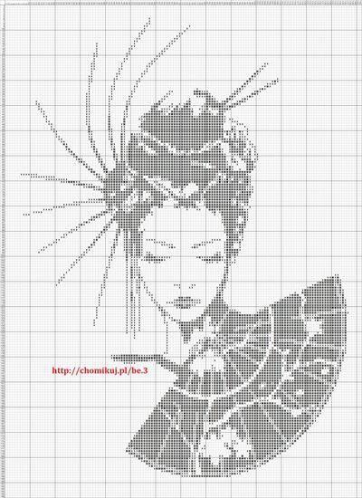 point de croix femme japonaise - cross stitch japanese woman