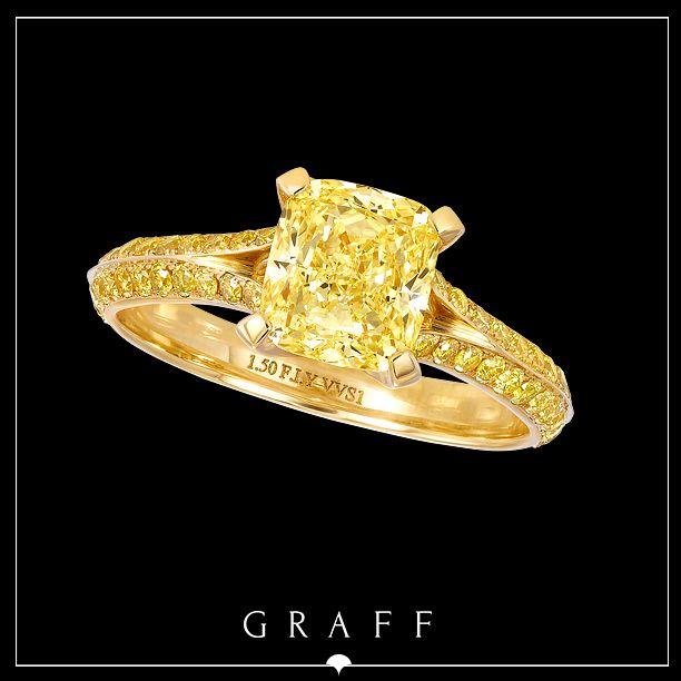 1.5ct Cushion Cut Fancy Intense Yellow Diamond Ring set with a Yellow Diamond Pavé Shank  #graffdiamonds #graff #bridal #wedding #engagement #ring #yellowdiamond
