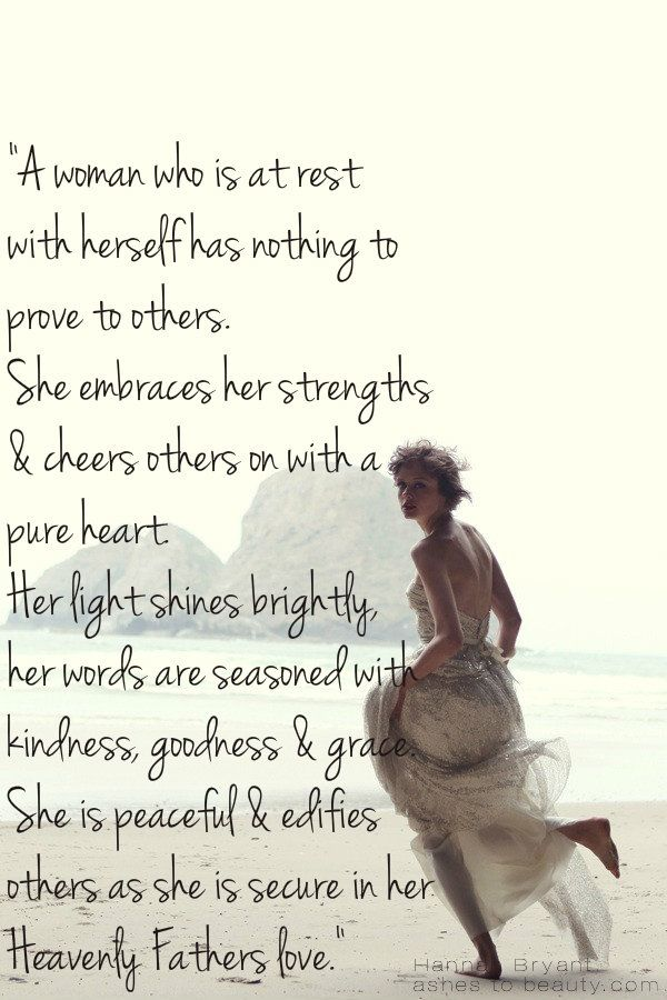 A peaceful woman... Hallelujah and we will sing out! I love this so perfectly said so beautifully lived in Christ