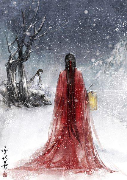 Áo đỏ buông trên nền tuyết trắng. Hãy cùng ta trở về.