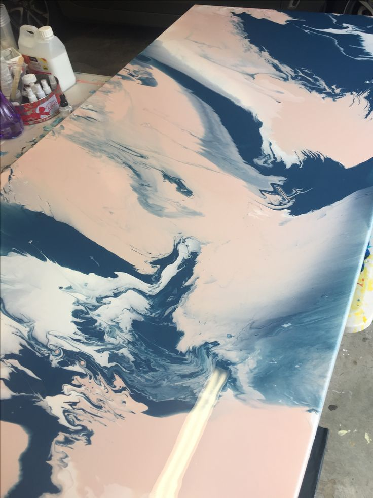 Fluid Acrylic Art piece drying, i love creating huge marble art pieces! Visit my page for more and commissions are welcome!