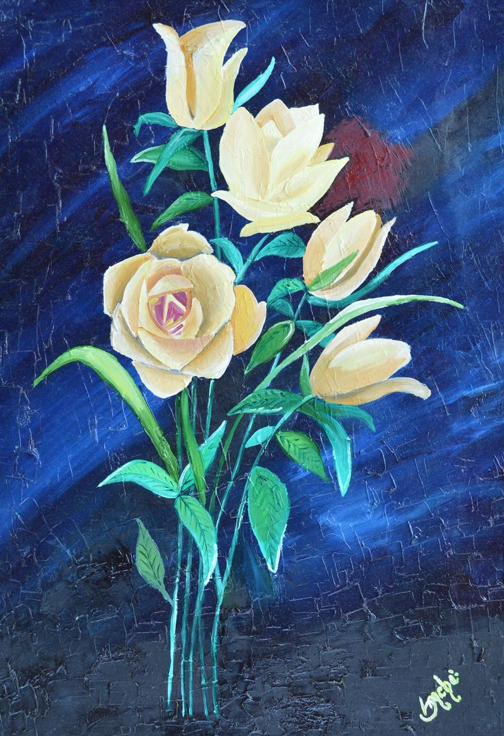 roses in oil color with spetula/knife