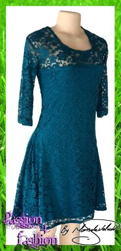 Fully laced knee length smart casual dress with sheer lace neckline and 3/4 sleeve. #mariselaveludo #fashion #casualwear #dress #lace