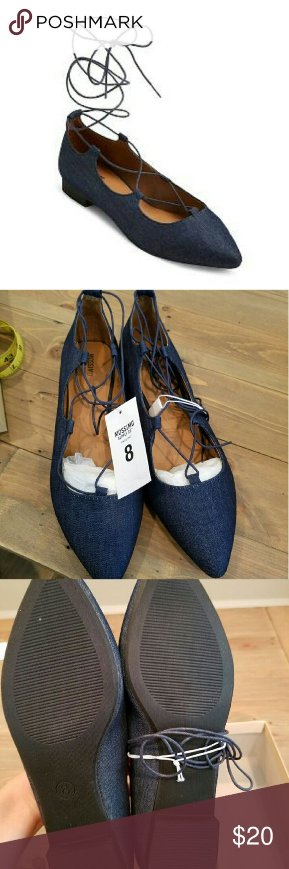 NWT! Mossimo Kady Flats in Denim size 8 Super Darling ballerina flats w/ laces. Denim. New & perfect! Early Christmas present perhaps? Mossimo Shoes Flats & Loafers