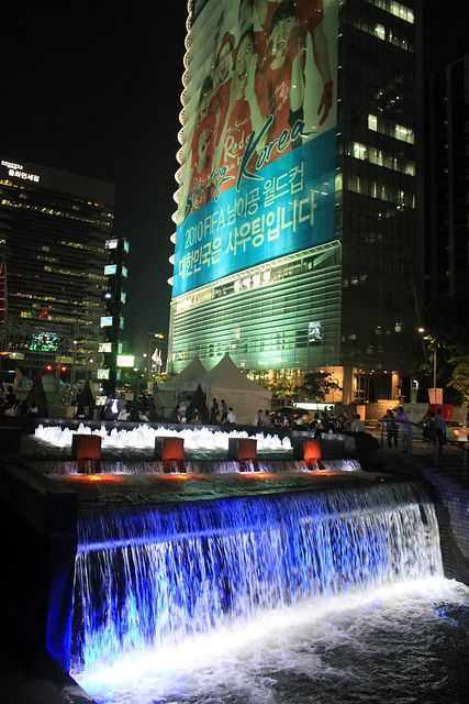 Waterfall at Cheonggyecheon by Seoul Korea, via Flickr