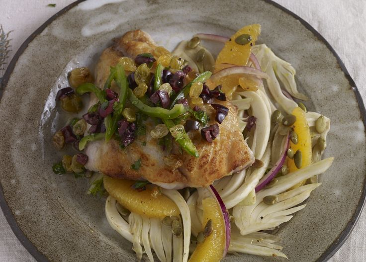 Fish over Fennel Salad with Jalapeño and Olive Salsa