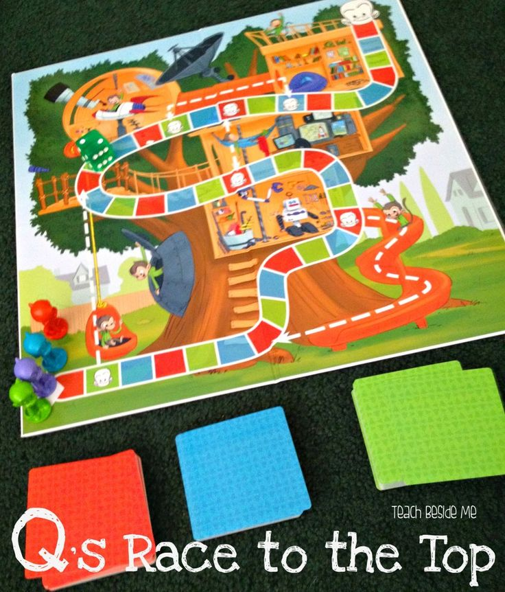 Q's Race to the Top- a board game teaching social skills, coordination, and behavior for ages 3 and up