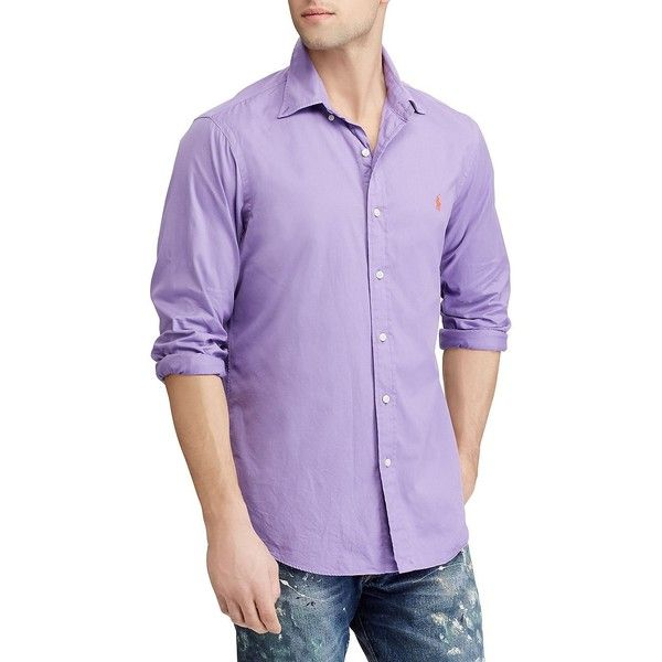 Polo Ralph Lauren Men's Classic-Fit Cotton Button-Down Shirt ($90) ❤ liked on Polyvore featuring men's fashion, men's clothing, men's shirts, men's casual shirts, purple, mens cotton shirts, mens casual button down shirts, mens casual button up shirts, mens button up shirts and polo ralph lauren mens shirts