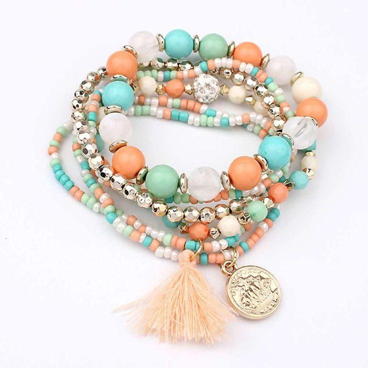 Women Multilayer Beads Bangle Tassels Bracelets Beige
